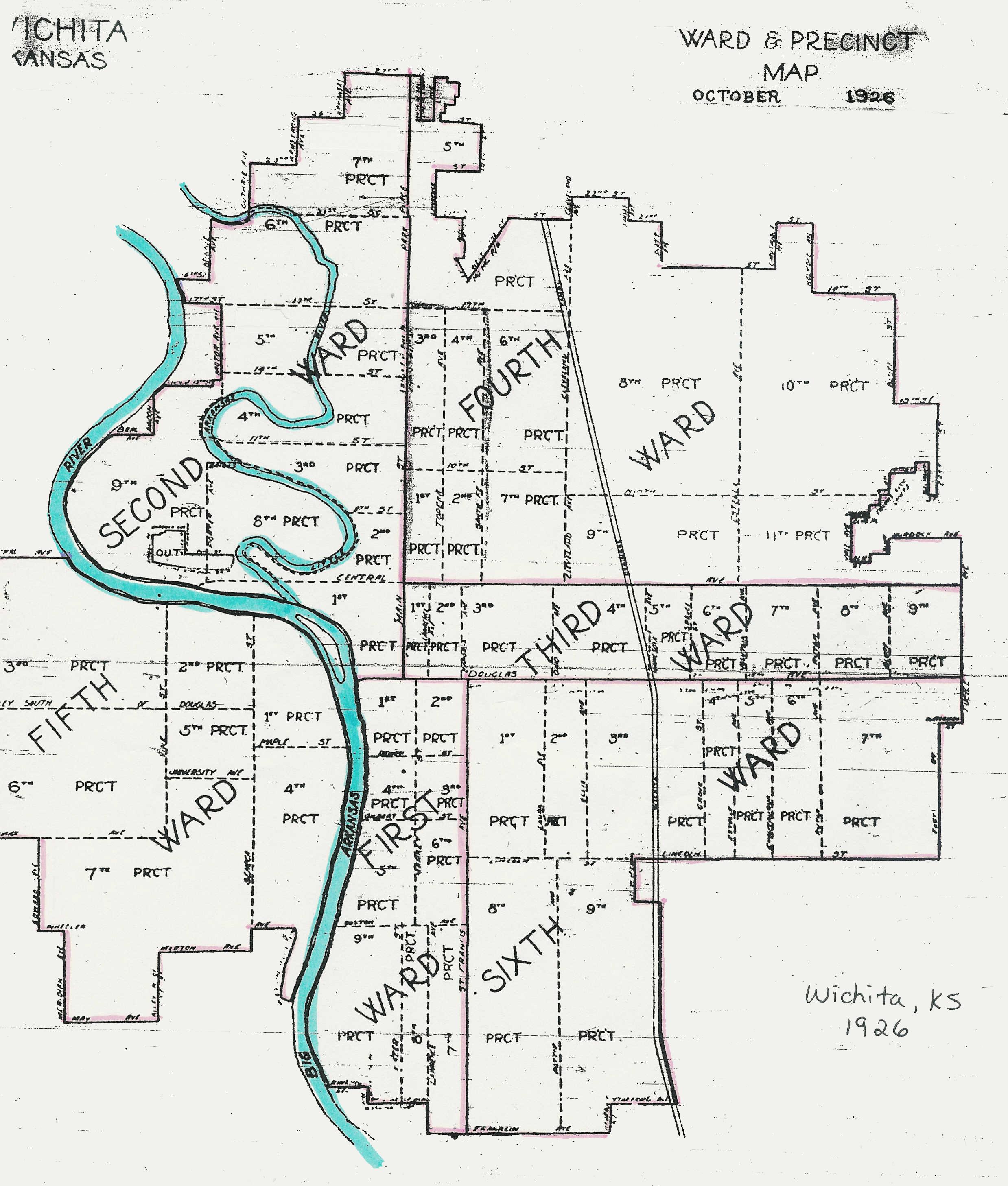 Wichita Ward Map 1926