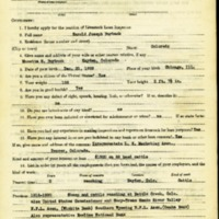 Harold Joseph Burbank Livestock Loan Inspector Application<br />
