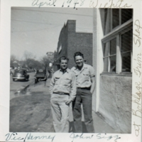 Vic Henney and John Sigg in Front of Boklage Trim Shop<br />