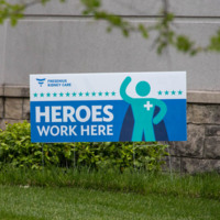 Heroes Work Here Sign at Fresenius Kidney Care